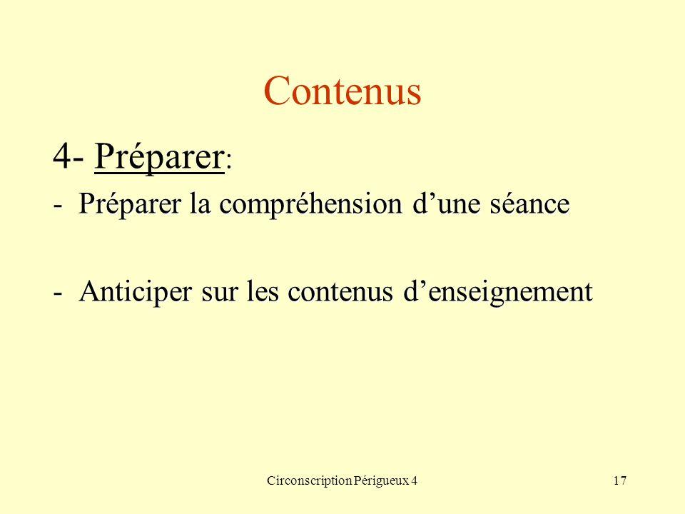 Circonscription Périgueux 417 Contenus 4- Préparer : -Préparer la compréhension dune séance -Anticiper sur les contenus denseignement