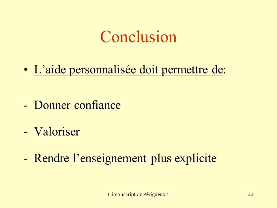 Circonscription Périgueux 422 Conclusion Laide personnalisée doit permettre de: -Donner confiance -Valoriser -Rendre lenseignement plus explicite