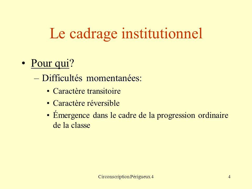 Circonscription Périgueux 44 Le cadrage institutionnel Pour qui? –Difficultés momentanées: Caractère transitoire Caractère réversible Émergence dans l