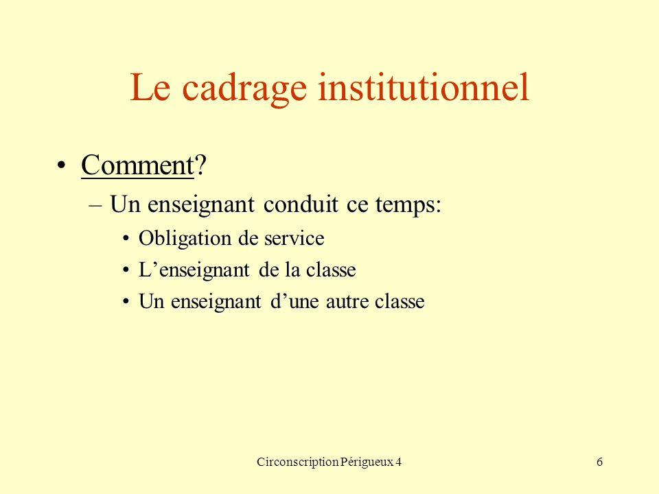 Circonscription Périgueux 46 Le cadrage institutionnel Comment? –Un enseignant conduit ce temps: Obligation de serviceObligation de service Lenseignan