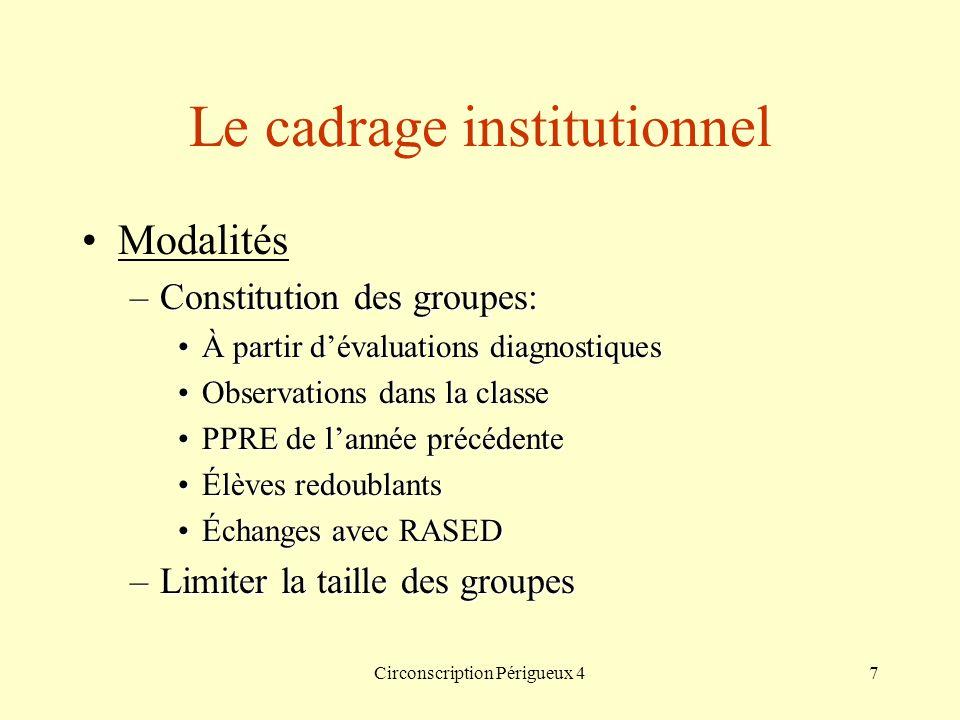 Circonscription Périgueux 47 Le cadrage institutionnel Modalités –Constitution des groupes: À partir dévaluations diagnostiquesÀ partir dévaluations d