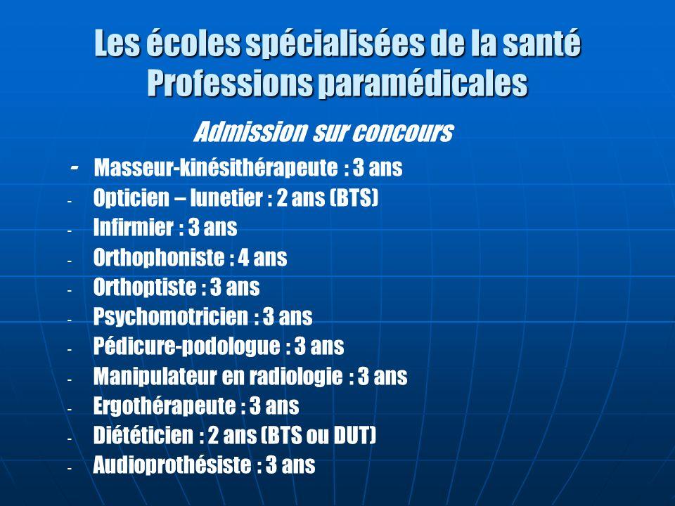 Les écoles spécialisées de la santé Professions paramédicales Admission sur concours - Masseur-kinésithérapeute : 3 ans - - Opticien – lunetier : 2 an