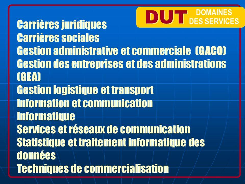 DUT DOMAINES DES SERVICES Carrières juridiques Carrières sociales Gestion administrative et commerciale (GACO) Gestion des entreprises et des administ