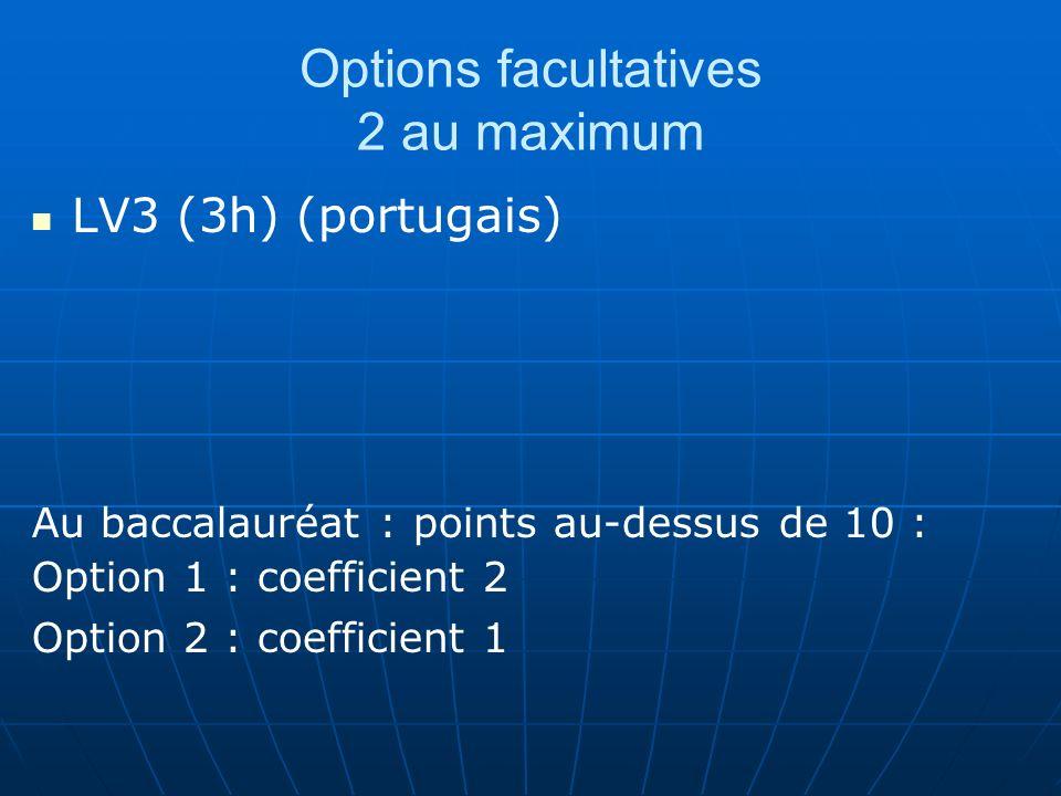 Options facultatives 2 au maximum LV3 (3h) (portugais) Au baccalauréat : points au-dessus de 10 : Option 1 : coefficient 2 Option 2 : coefficient 1