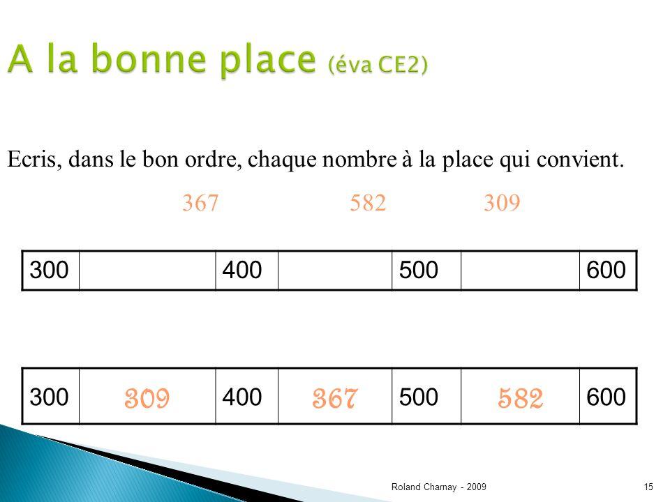 Roland Charnay - 200915 A la bonne place (éva CE2) Ecris, dans le bon ordre, chaque nombre à la place qui convient.