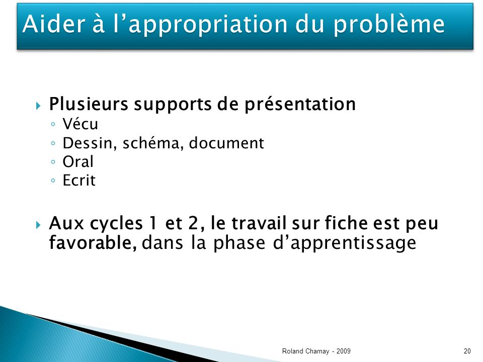 Plusieurs supports de présentation Vécu Dessin, schéma, document Oral Ecrit Aux cycles 1 et 2, le travail sur fiche est peu favorable, dans la phase dapprentissage Roland Charnay - 200920