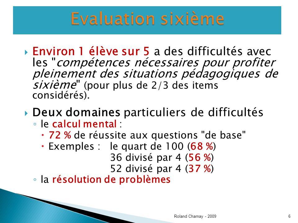 Environ 1 élève sur 5 a des difficultés avec les compétences nécessaires pour profiter pleinement des situations pédagogiques de sixième (pour plus de 2/3 des items considérés).