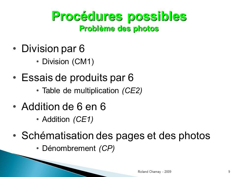 9 Procédures possibles Problème des photos Division par 6 Division (CM1) Essais de produits par 6 Table de multiplication (CE2) Addition de 6 en 6 Addition (CE1) Schématisation des pages et des photos Dénombrement (CP)