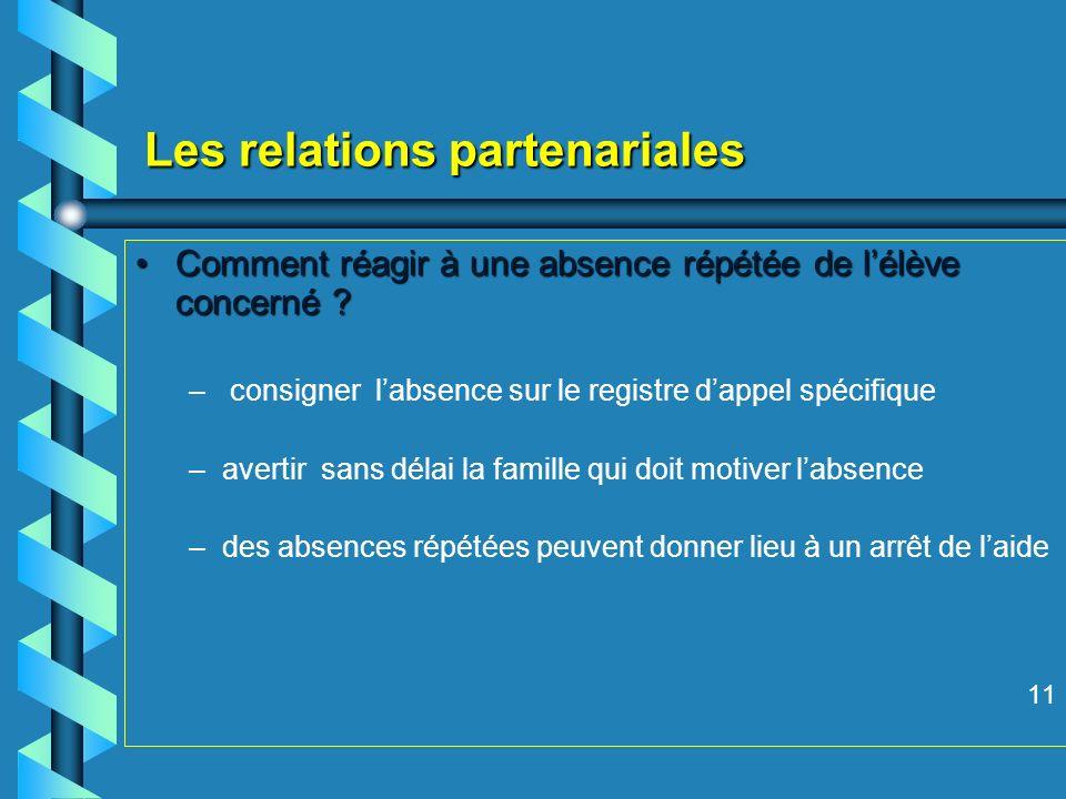 Les relations partenariales Comment réagir à une absence répétée de lélève concerné Comment réagir à une absence répétée de lélève concerné .