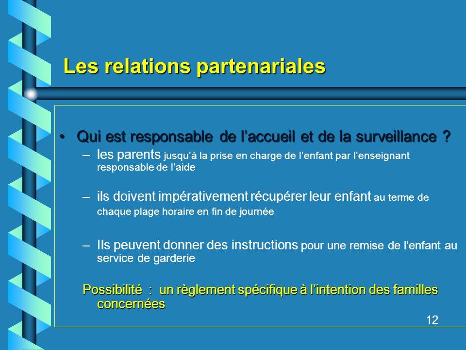 Les relations partenariales Qui est responsable de laccueil et de la surveillance Qui est responsable de laccueil et de la surveillance .