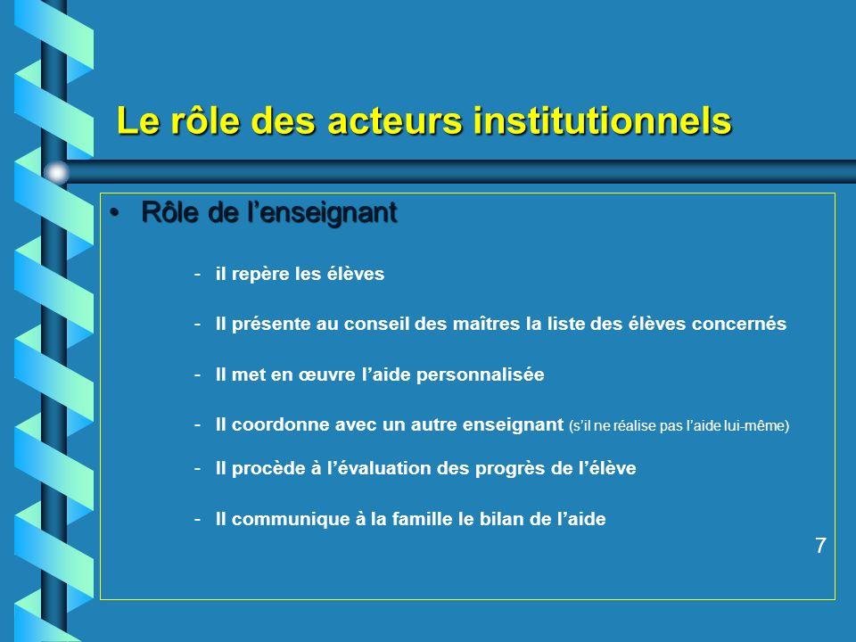Le rôle des acteurs institutionnels Rôle de lenseignantRôle de lenseignant - -il repère les élèves - -Il présente au conseil des maîtres la liste des
