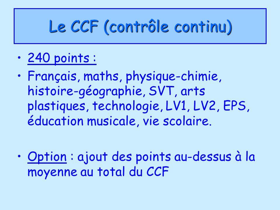 Le CCF (contrôle continu) 240 points : Français, maths, physique-chimie, histoire-géographie, SVT, arts plastiques, technologie, LV1, LV2, EPS, éducat