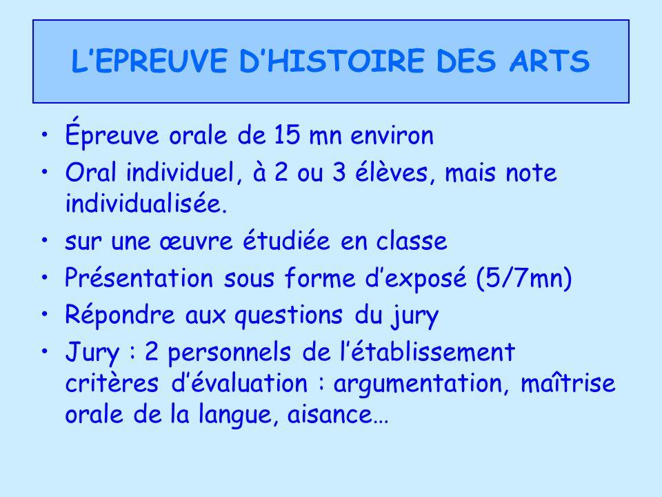 LEPREUVE DHISTOIRE DES ARTS Épreuve orale de 15 mn environ Oral individuel, à 2 ou 3 élèves, mais note individualisée. sur une œuvre étudiée en classe