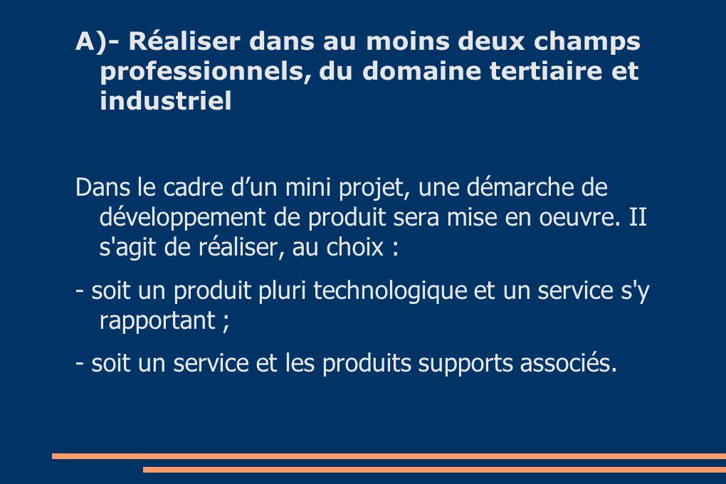 A)- Réaliser dans au moins deux champs professionnels, du domaine tertiaire et industriel Dans le cadre dun mini projet, une démarche de développement de produit sera mise en oeuvre.