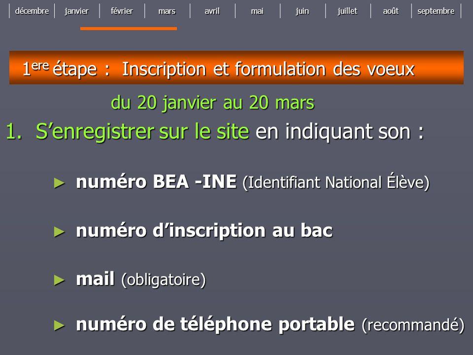 décembrejanvierfévriermarsavrilmaijuinjuilletaoûtseptembre 1 ere étape : Inscription et formulation des voeux 1.