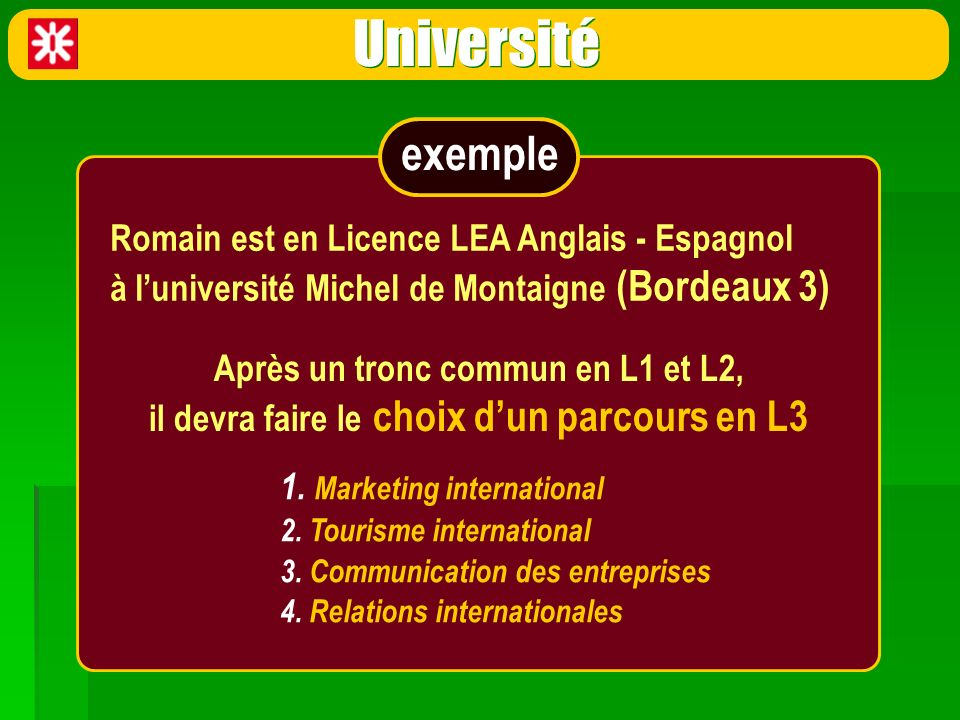 Université 1. Marketing international 2. Tourisme international 3. Communication des entreprises 4. Relations internationales Romain est en Licence LE