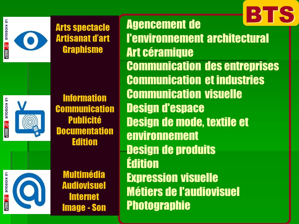 Arts spectacle Artisanat dart Graphisme Multimédia Audiovisuel Internet Image - Son Information Communication Publicité Documentation Edition BTS Agen