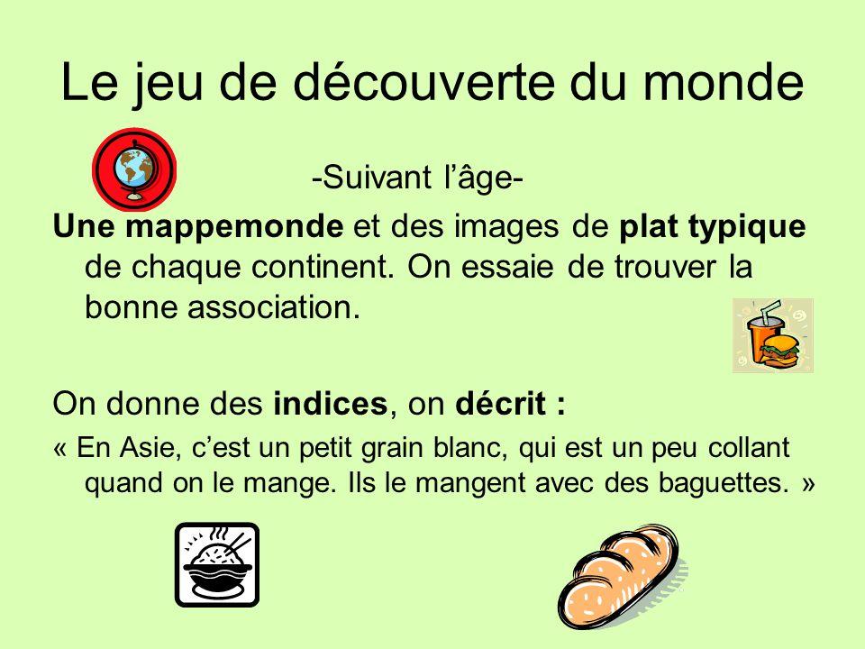 Le jeu de découverte du monde -Suivant lâge- Une mappemonde et des images de plat typique de chaque continent. On essaie de trouver la bonne associati