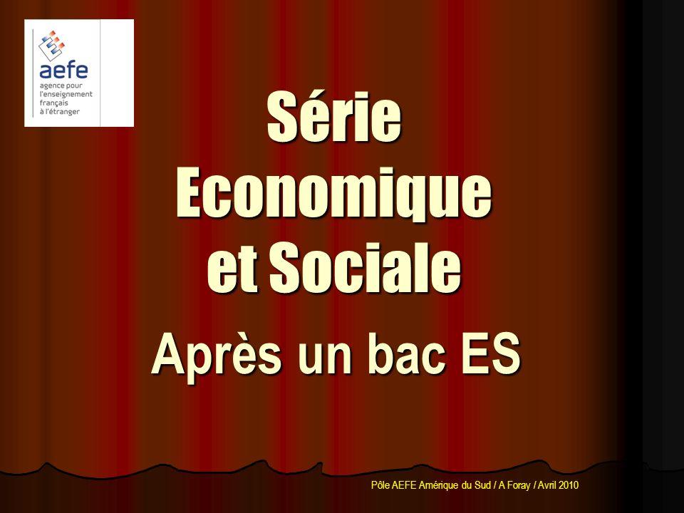 Après un bac ES Série Economique et Sociale Pôle AEFE Amérique du Sud / A Foray / Avril 2010