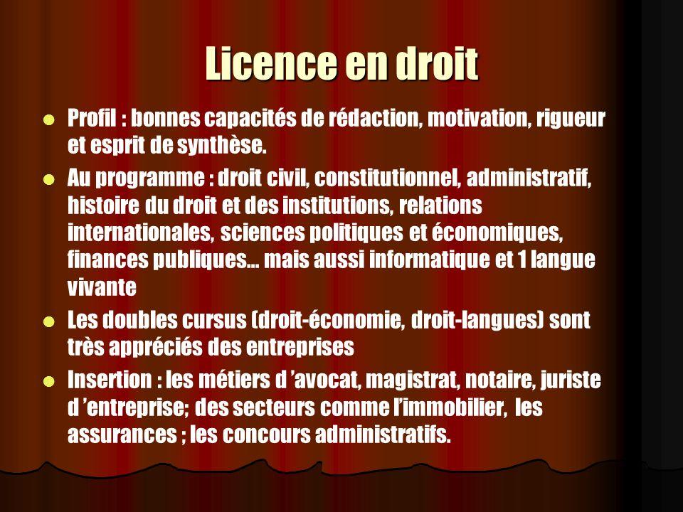 Licence en droit Profil : bonnes capacités de rédaction, motivation, rigueur et esprit de synthèse. Au programme : droit civil, constitutionnel, admin