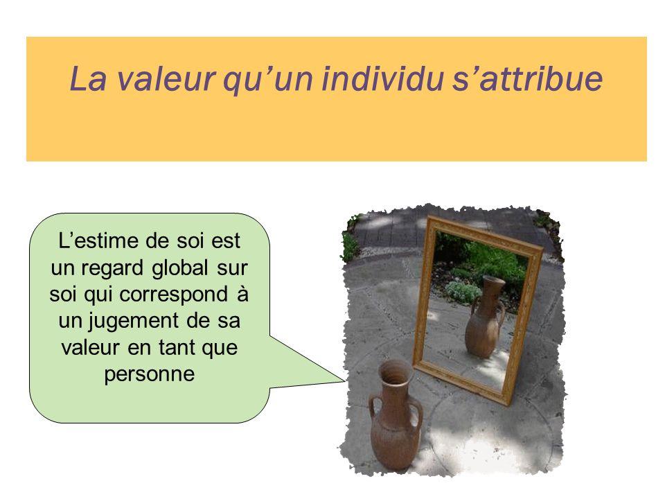 La valeur quun individu sattribue Lestime de soi est un regard global sur soi qui correspond à un jugement de sa valeur en tant que personne