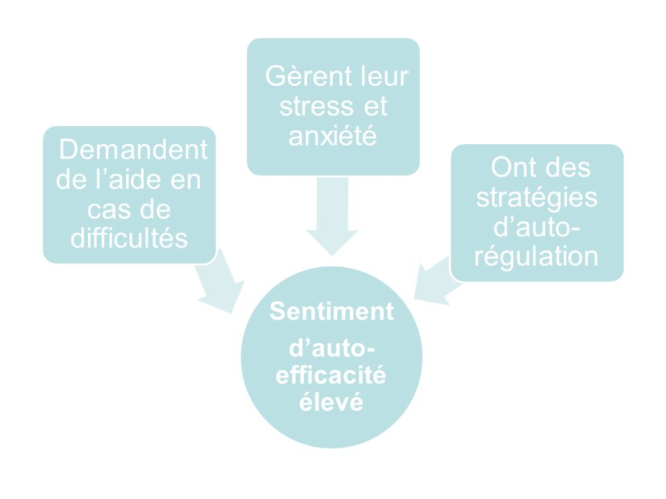 Sentiment dauto- efficacité élevé Demandent de laide en cas de difficultés Gèrent leur stress et anxiété Ont des stratégies dauto- régulation