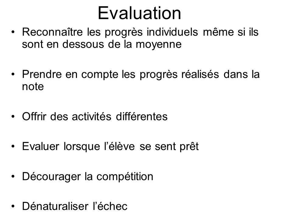 Evaluation Reconnaître les progrès individuels même si ils sont en dessous de la moyenne Prendre en compte les progrès réalisés dans la note Offrir de