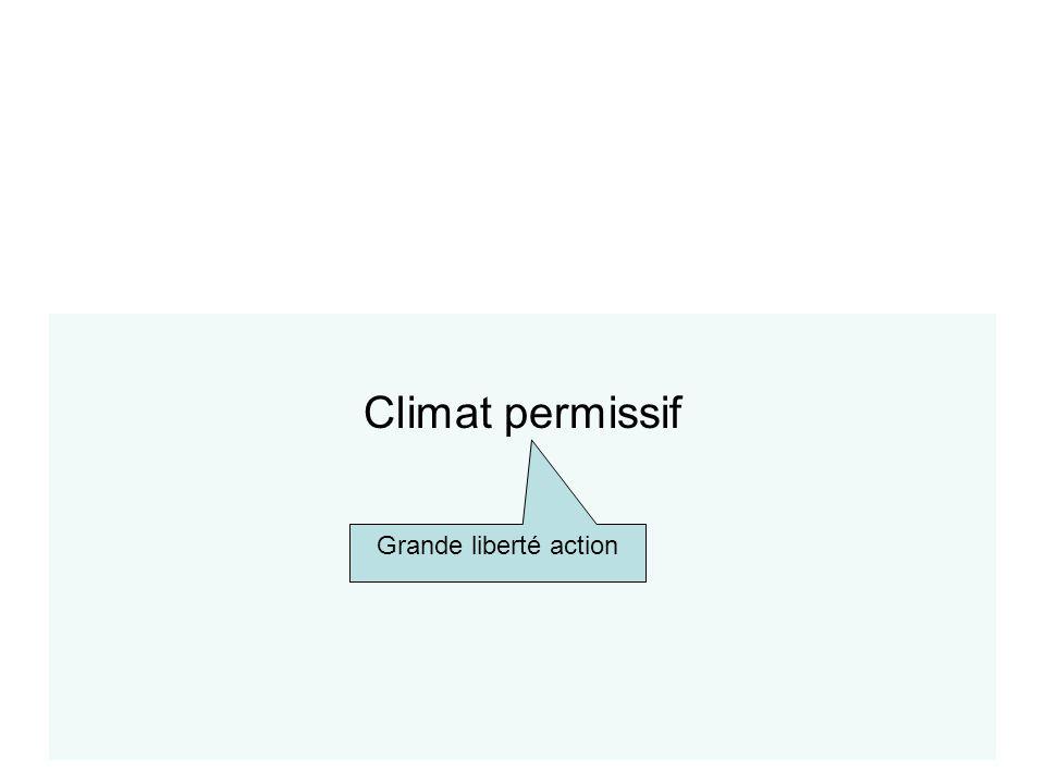Climat permissif Typologie des climats Grande liberté action
