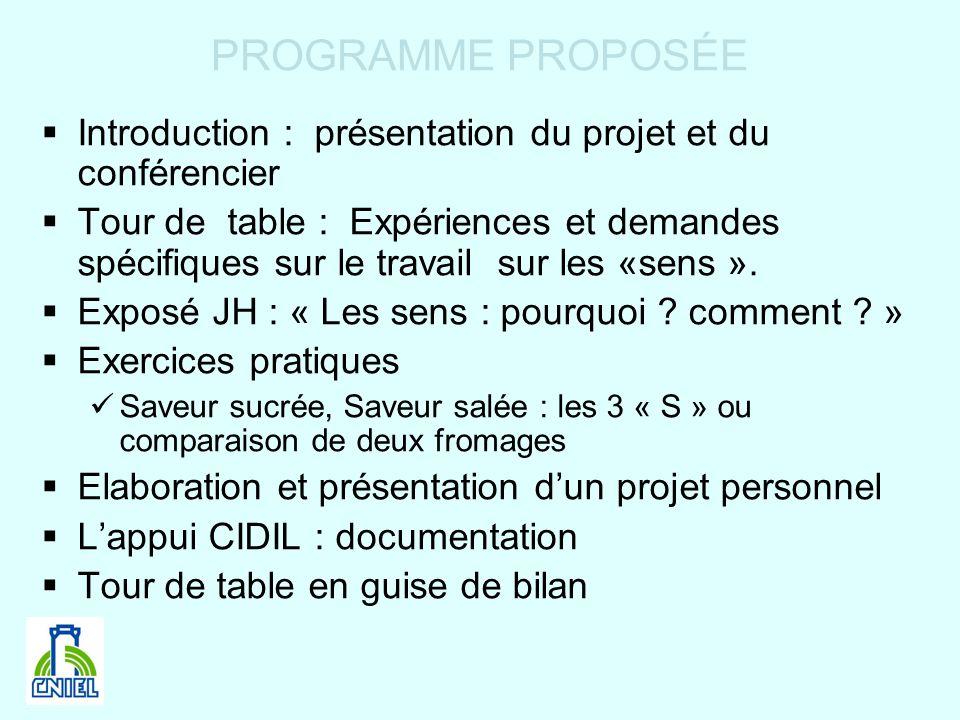 PROGRAMME PROPOSÉE Introduction : présentation du projet et du conférencier Tour de table : Expériences et demandes spécifiques sur le travail sur les