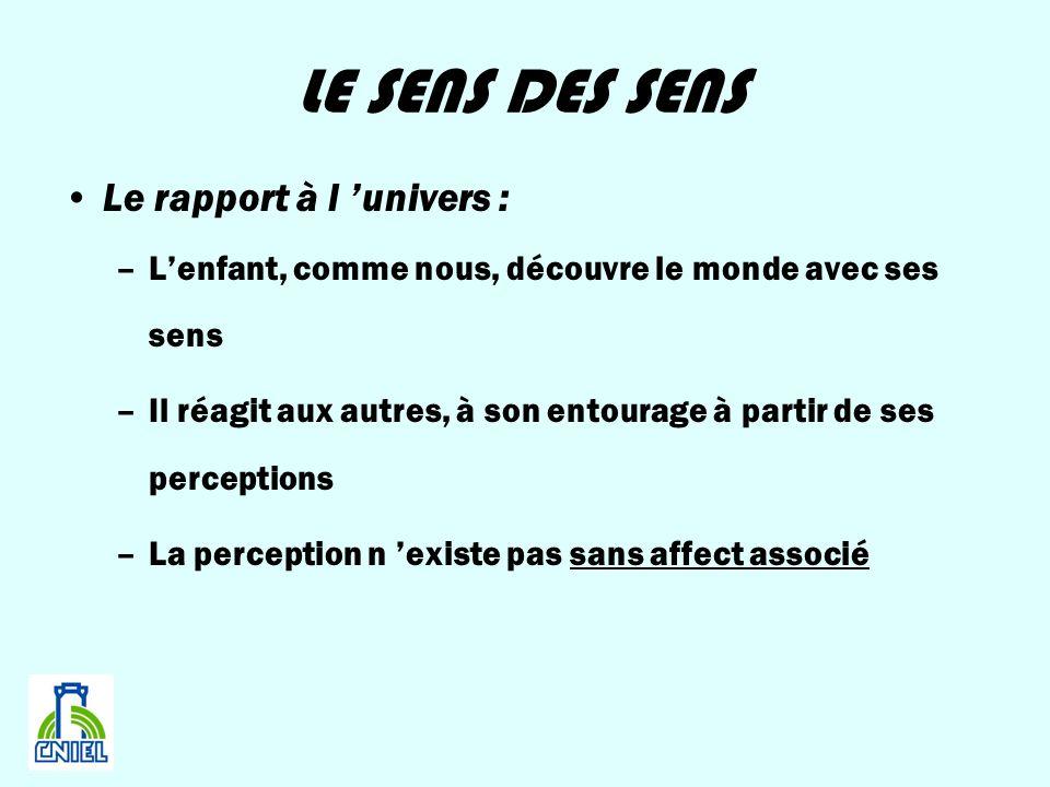LE SENS DES SENS Le rapport à l univers : –Lenfant, comme nous, découvre le monde avec ses sens –Il réagit aux autres, à son entourage à partir de ses