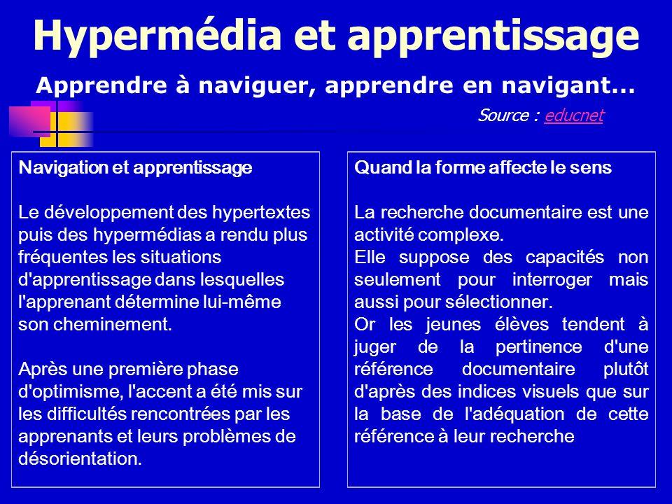 Hypermédia et apprentissage Apprendre à naviguer, apprendre en navigant... Navigation et apprentissage Le développement des hypertextes puis des hyper