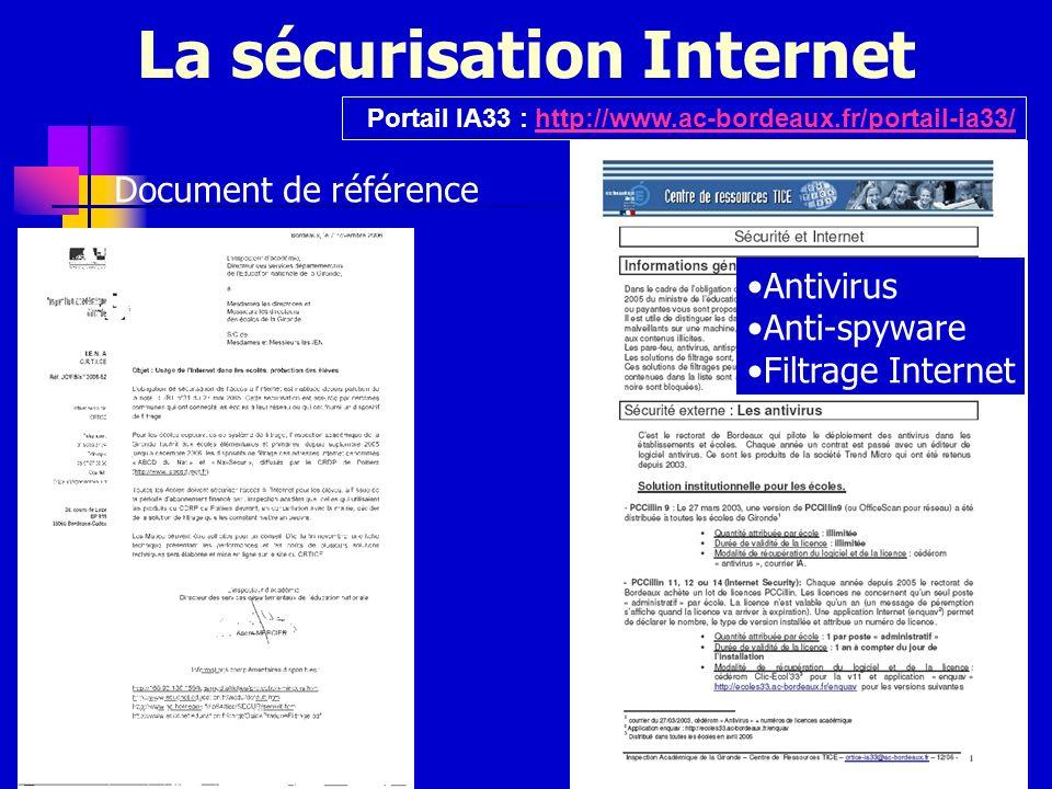 La sécurisation Internet Portail IA33 : http://www.ac-bordeaux.fr/portail-ia33/http://www.ac-bordeaux.fr/portail-ia33/ Document de référence Antivirus
