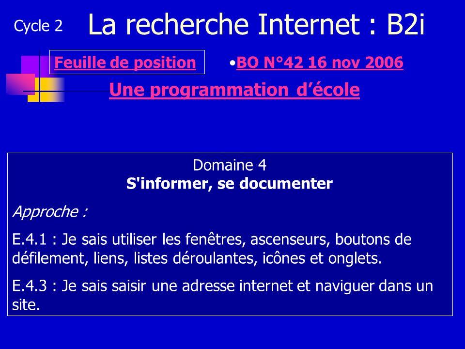 La recherche Internet : B2i Cycle 2 Une programmation décole Domaine 4 S'informer, se documenter Approche : E.4.1 : Je sais utiliser les fenêtres, asc
