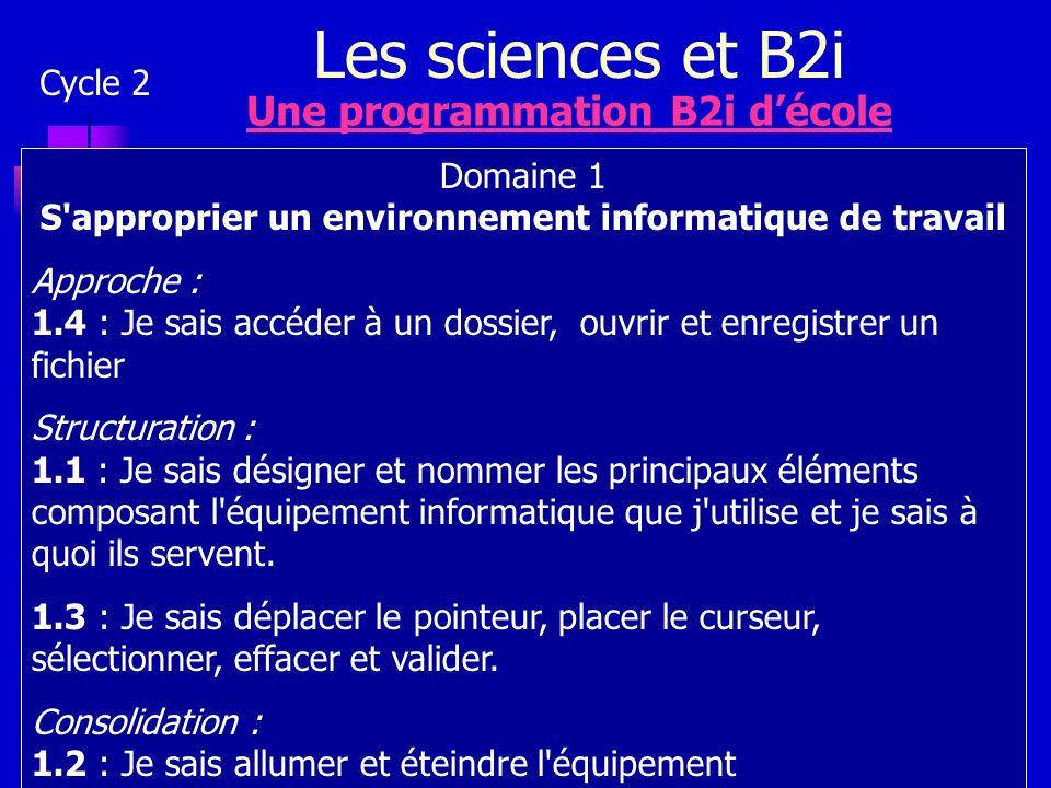 Les sciences et B2i Cycle 2 Une programmation B2i décole Domaine 1 S'approprier un environnement informatique de travail Approche : 1.4 : Je sais accé