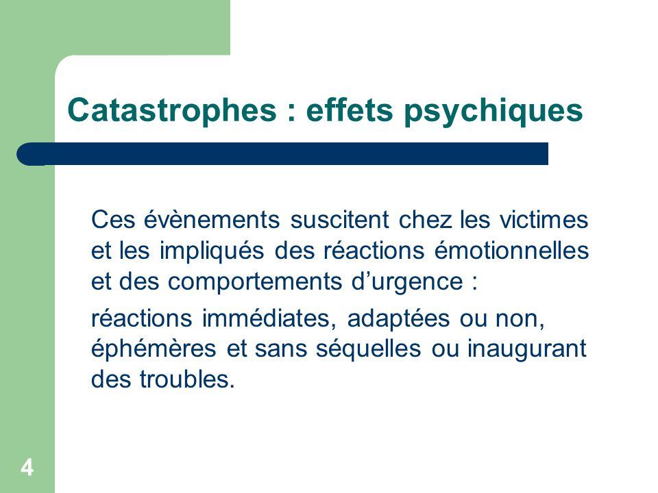 5 Catastrophes : effets psychiques Des réactions tardives réalisant des tableaux psychiatriques au premier rang desquels le syndrome de stress post-traumatique : pathologie chronique et invalidante.