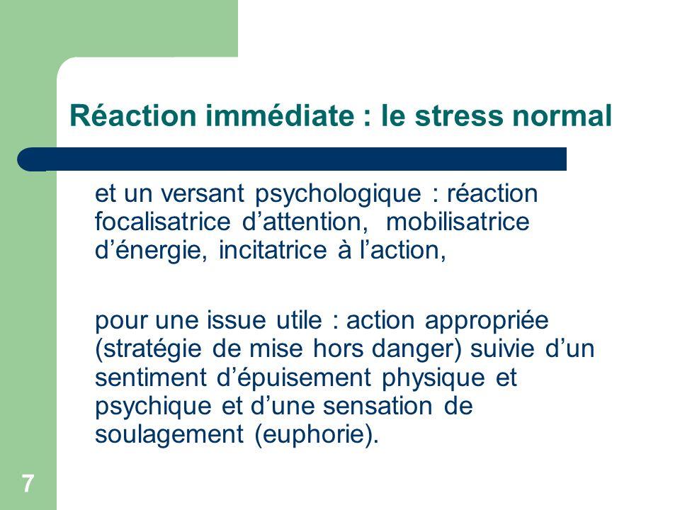 8 Réaction immédiate : le stress dépassé Réaction de sidération Agitation désordonnée Fuite panique Action automatique… = réactions plus ou moins immédiates et bruyantes, souvent résolutives.