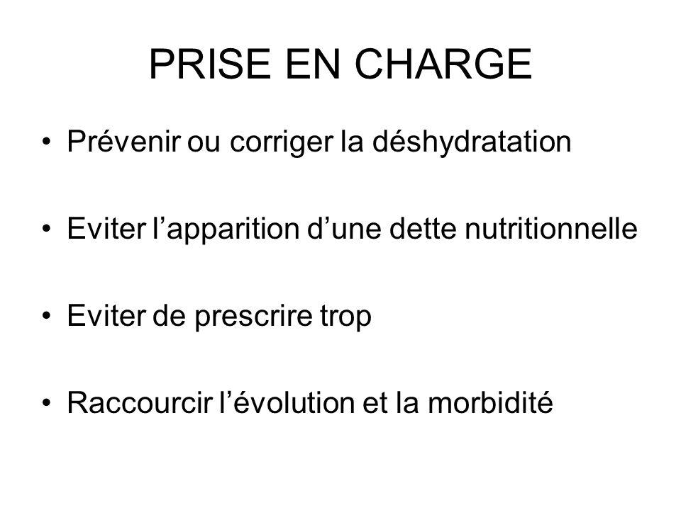 PRISE EN CHARGE Prévenir ou corriger la déshydratation Eviter lapparition dune dette nutritionnelle Eviter de prescrire trop Raccourcir lévolution et