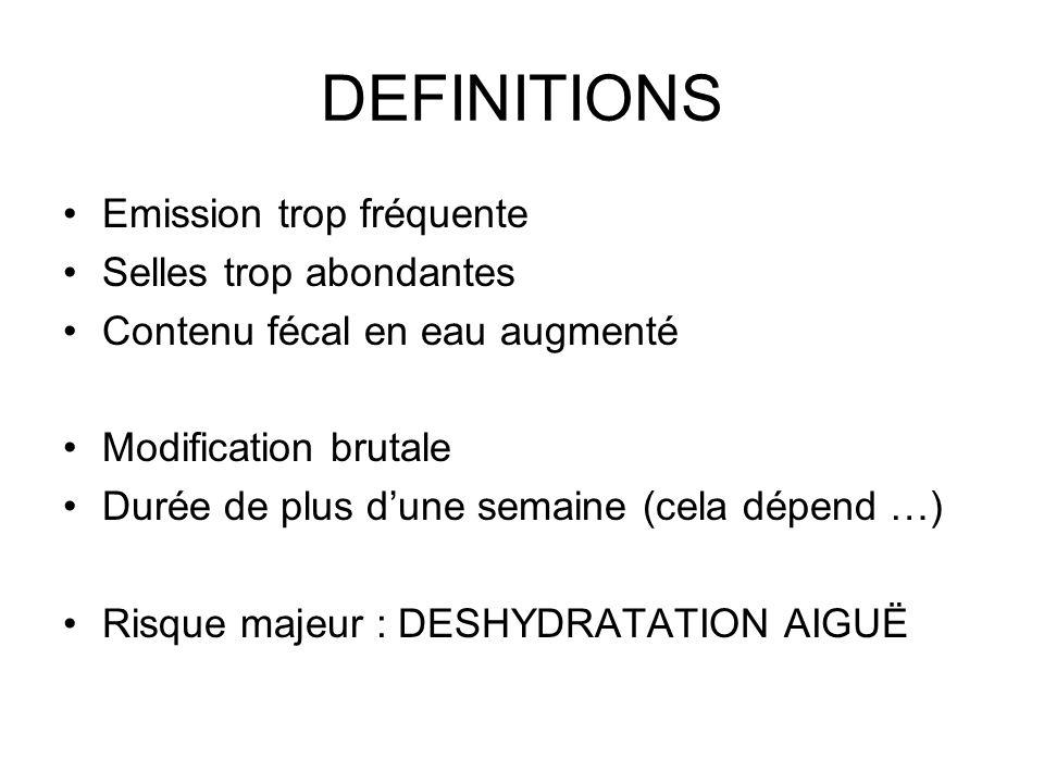 DEFINITIONS Emission trop fréquente Selles trop abondantes Contenu fécal en eau augmenté Modification brutale Durée de plus dune semaine (cela dépend