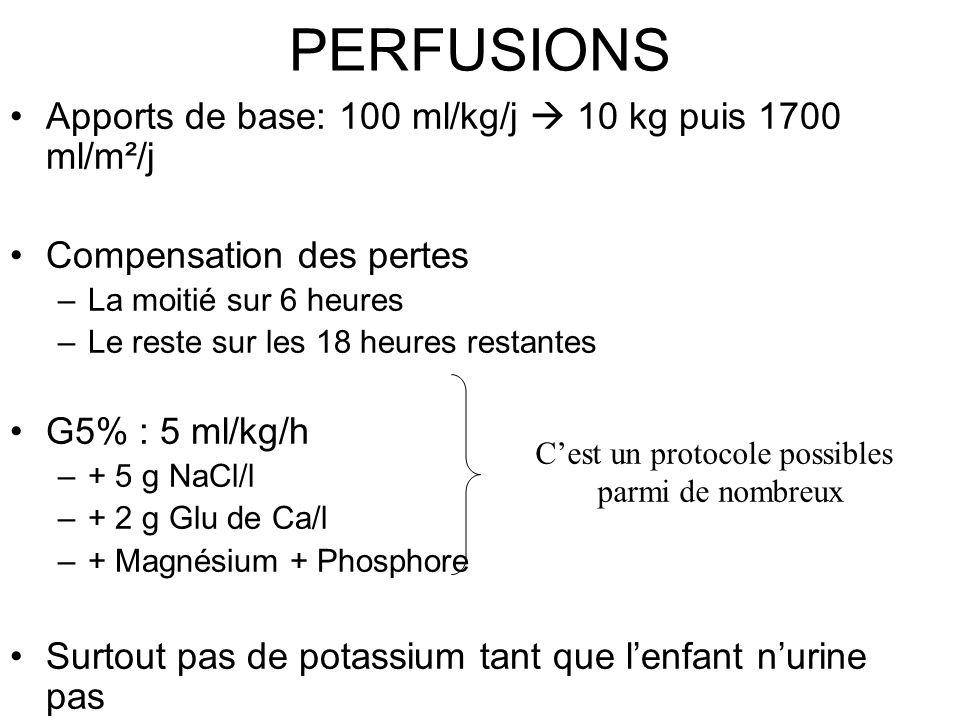 PERFUSIONS Apports de base: 100 ml/kg/j 10 kg puis 1700 ml/m²/j Compensation des pertes –La moitié sur 6 heures –Le reste sur les 18 heures restantes