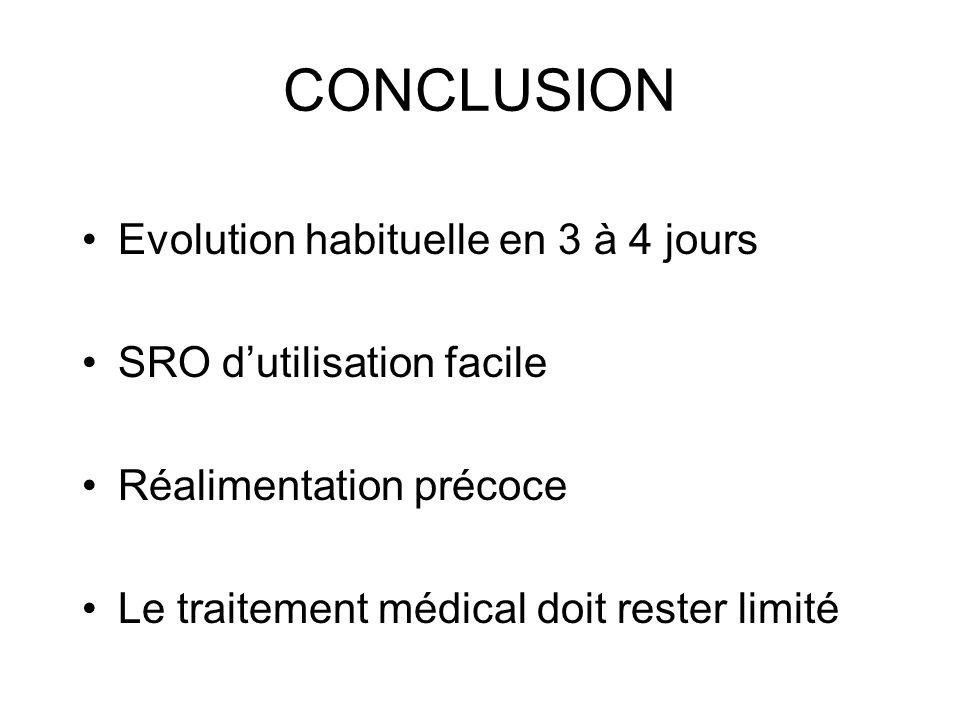 CONCLUSION Evolution habituelle en 3 à 4 jours SRO dutilisation facile Réalimentation précoce Le traitement médical doit rester limité