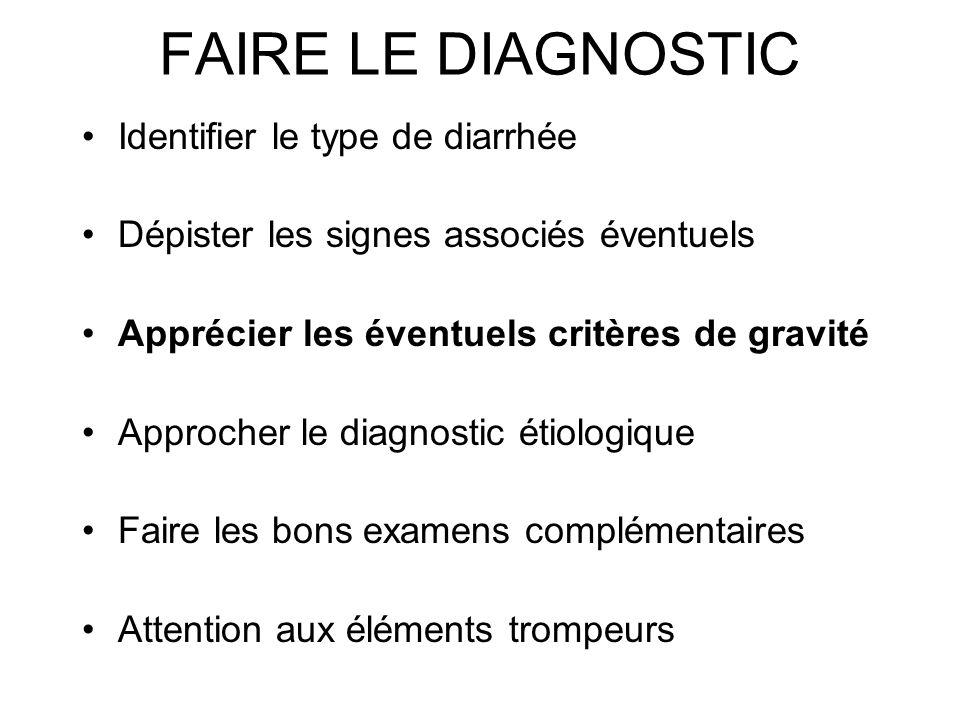 FAIRE LE DIAGNOSTIC Identifier le type de diarrhée Dépister les signes associés éventuels Apprécier les éventuels critères de gravité Approcher le dia