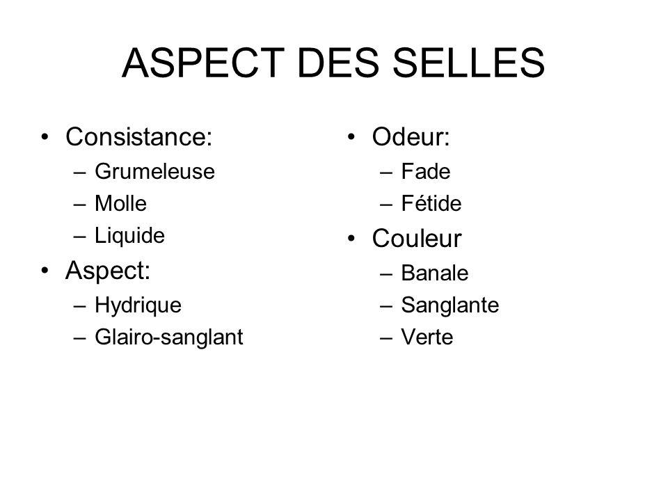 ASPECT DES SELLES Consistance: –Grumeleuse –Molle –Liquide Aspect: –Hydrique –Glairo-sanglant Odeur: –Fade –Fétide Couleur –Banale –Sanglante –Verte