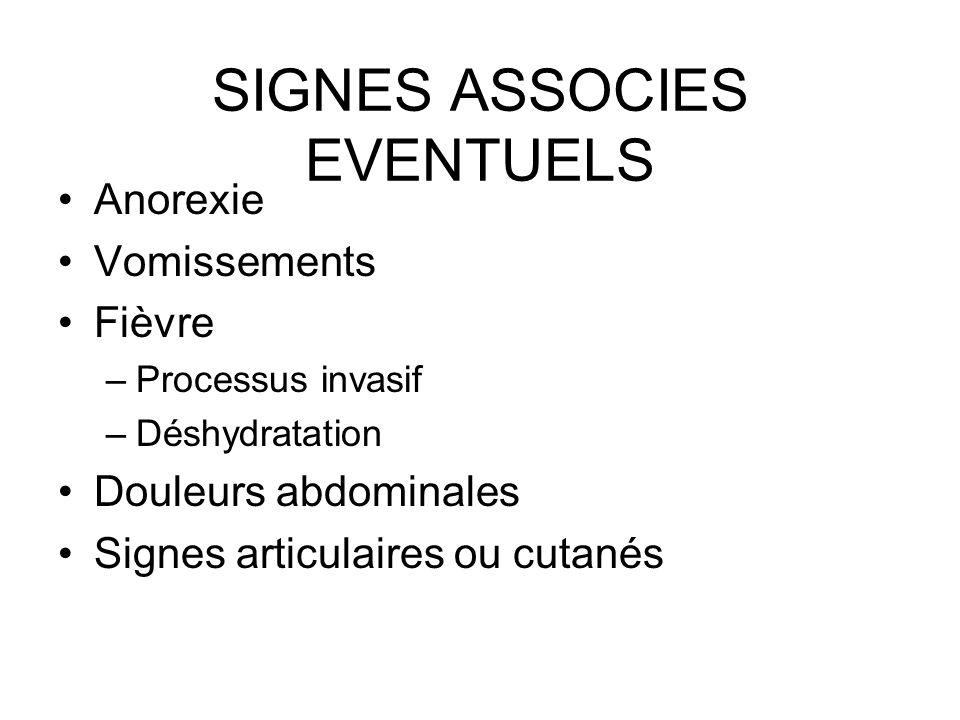 SIGNES ASSOCIES EVENTUELS Anorexie Vomissements Fièvre –Processus invasif –Déshydratation Douleurs abdominales Signes articulaires ou cutanés