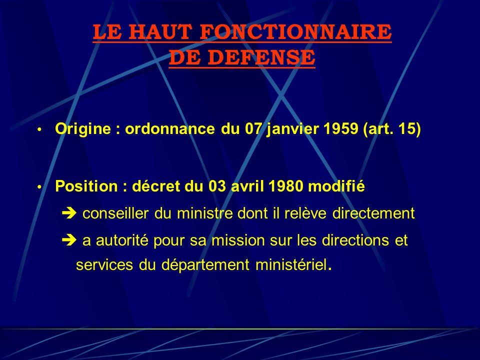 Origine : ordonnance du 07 janvier 1959 (art. 15) Position : décret du 03 avril 1980 modifié conseiller du ministre dont il relève directement a autor