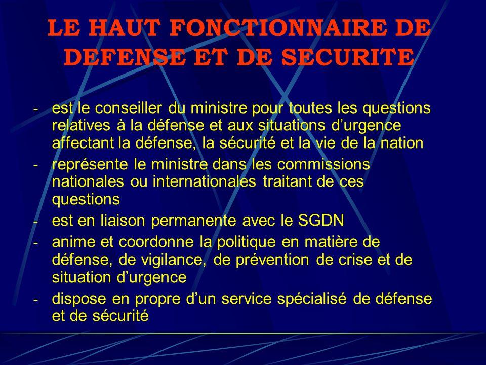 LE HAUT FONCTIONNAIRE DE DEFENSE ET DE SECURITE - est le conseiller du ministre pour toutes les questions relatives à la défense et aux situations dur