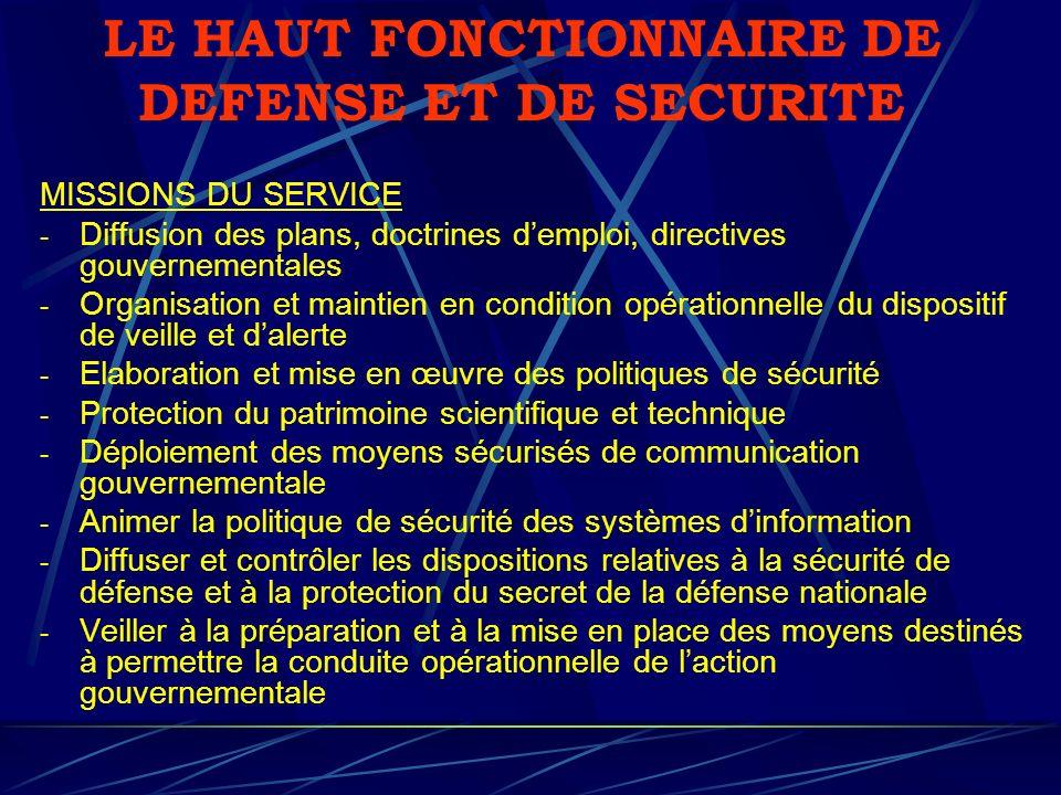 LE HAUT FONCTIONNAIRE DE DEFENSE ET DE SECURITE MISSIONS DU SERVICE - Diffusion des plans, doctrines demploi, directives gouvernementales - Organisati