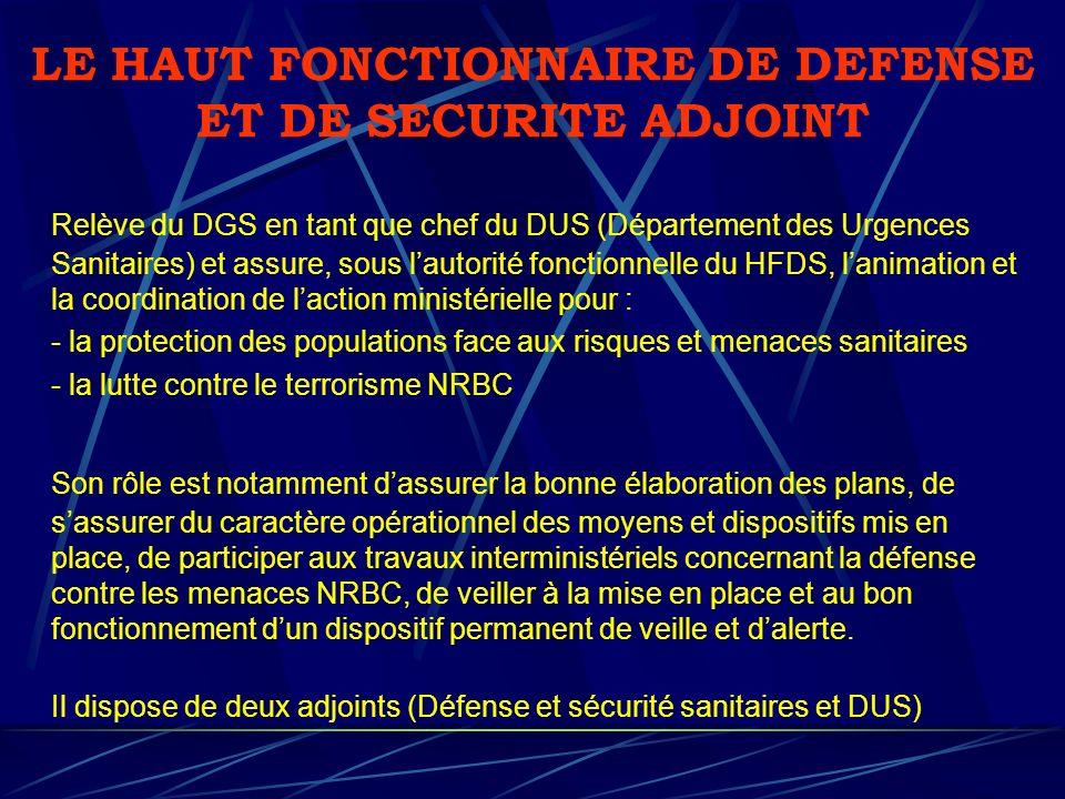 LE HAUT FONCTIONNAIRE DE DEFENSE ET DE SECURITE ADJOINT Relève du DGS en tant que chef du DUS (Département des Urgences Sanitaires) et assure, sous la