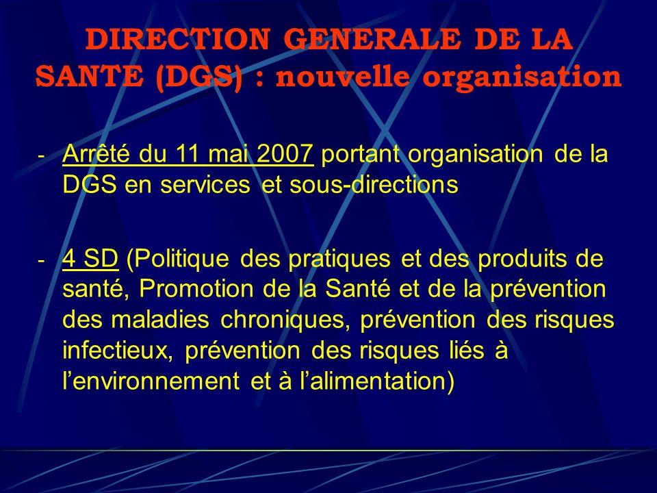 DIRECTION GENERALE DE LA SANTE (DGS) : nouvelle organisation - Arrêté du 11 mai 2007 portant organisation de la DGS en services et sous-directions - 4