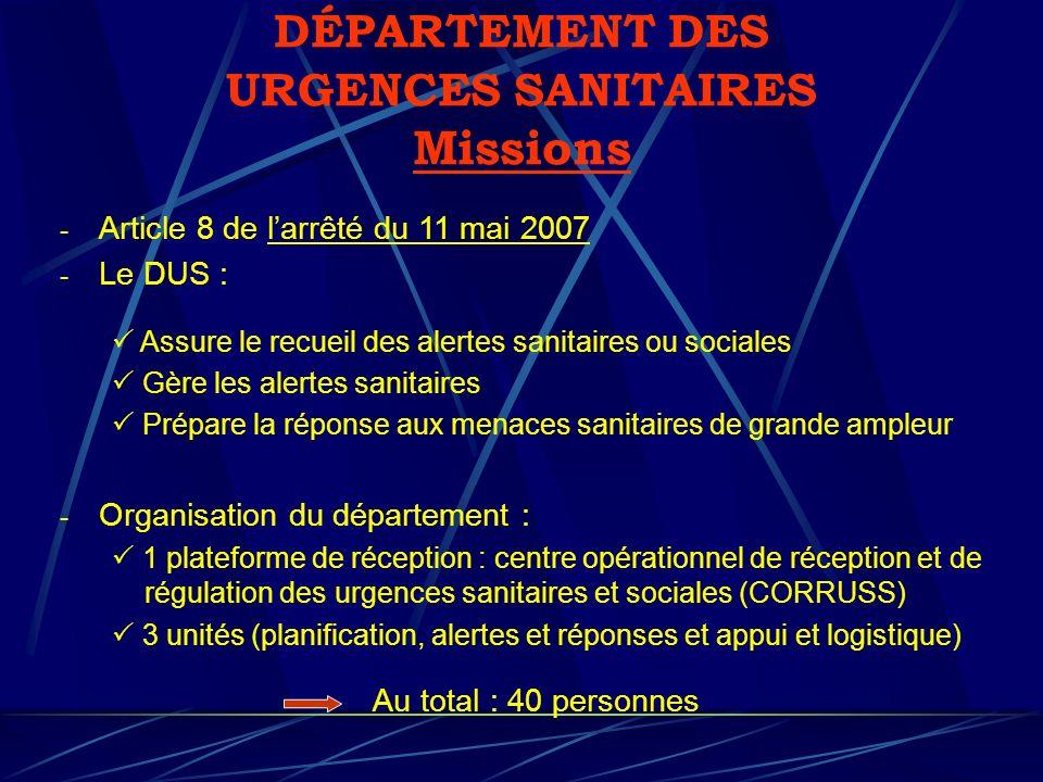 DÉPARTEMENT DES URGENCES SANITAIRES Missions - Article 8 de larrêté du 11 mai 2007 - Le DUS : Assure le recueil des alertes sanitaires ou sociales Gèr