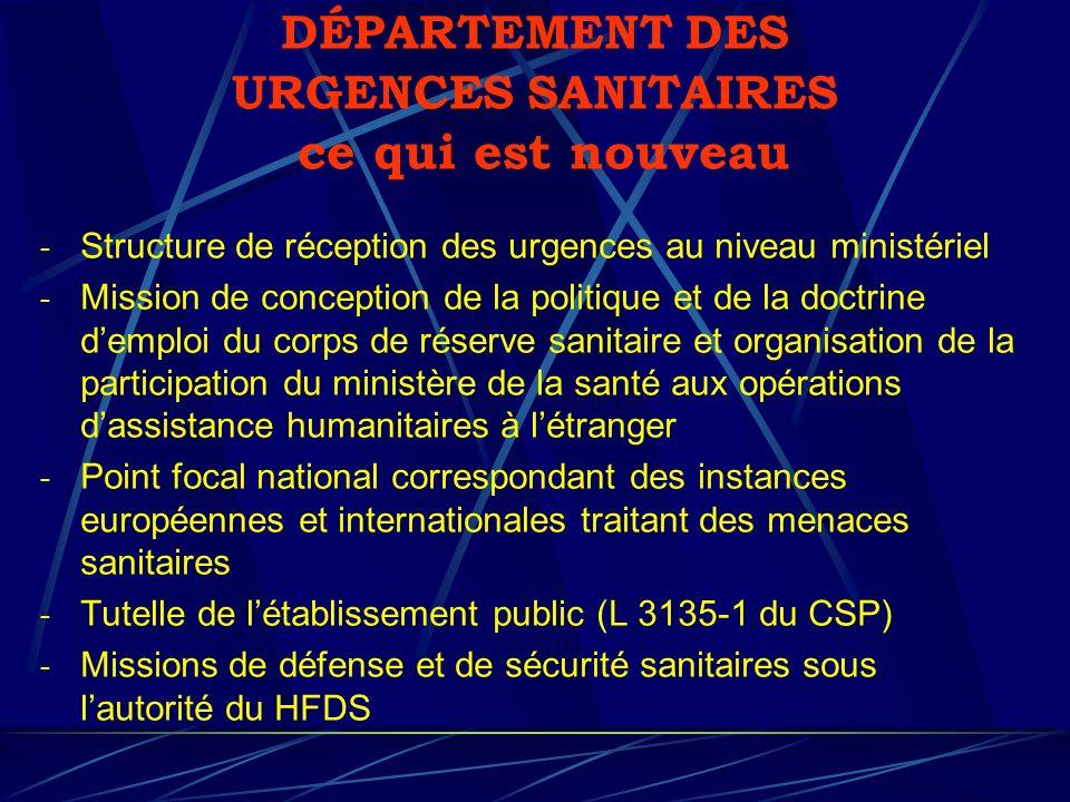 DÉPARTEMENT DES URGENCES SANITAIRES ce qui est nouveau - Structure de réception des urgences au niveau ministériel - Mission de conception de la polit